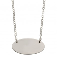 Sterling Silver Rhodium Plated Medium Oval Disc Necklace - DIN00032RH