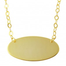 Sterling Silver Gold Plated Large Oval Disc Necklace - DIN00033GP
