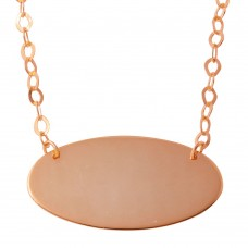 Sterling Silver Rose Gold Plated Large Oval Disc Necklace - DIN00033RGP