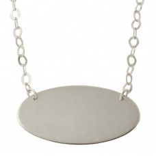 Sterling Silver Rhodium Plated Large Oval Disc Necklace - DIN00033RH
