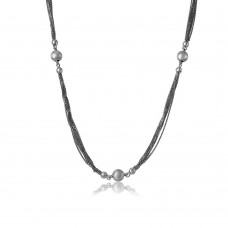 Sterling Silver Rhodium Plated Multi Strands Chain With Beads Necklace - DIN00034RH