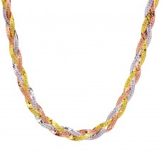 Wholesale Sterling Silver 925 3 Toned Braided Flat Necklace - DIN00035 3CL