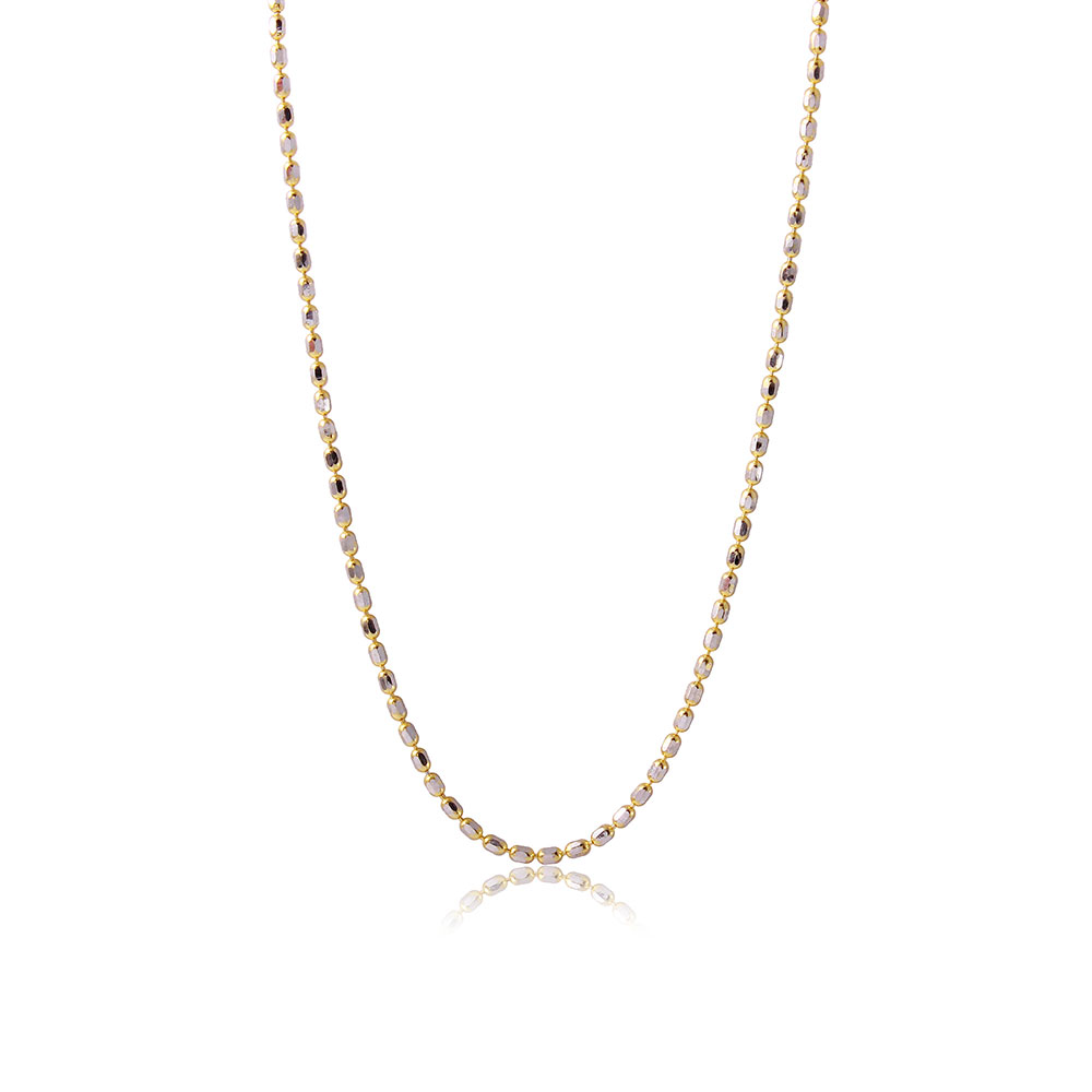 Wholesale Sterling Silver 925 Gold Plated Diamond Cut Oval Bead Chain Link - DIN00036