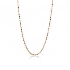 Sterling Silver Gold Plated Diamond Cut Oval Bead Chain Link - DIN00036