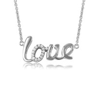 """Wholesale Sterling Silver 925 Rhodium Plated Word Necklace """"LOVE"""" - DIN00039RH"""
