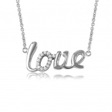 "Wholesale Sterling Silver 925 Rhodium Plated Word Necklace ""LOVE"" - DIN00039RH"