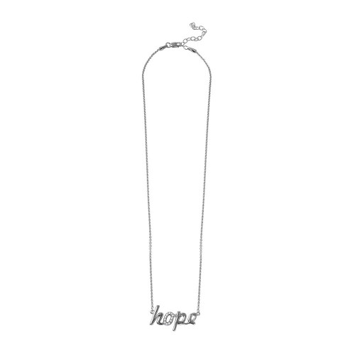 """Wholesale Sterling Silver 925 Rhodium Plated CZ Word Necklace """"Hope"""" - DIN00040RH"""