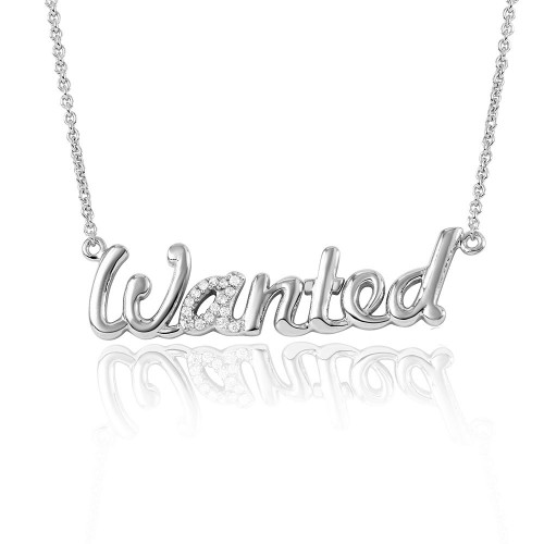 """Wholesale Sterling Silver 925 Rhodium Plated CZ Word Necklace """"WANTED"""" - DIN00041RH"""