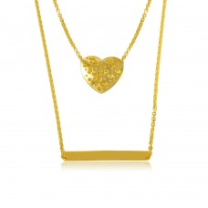 Wholesale Sterling Silver 925 Gold Plated Double Chain Heart and Bar Necklace - DIN00043GP