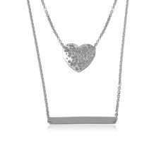 Wholesale Sterling Silver 925 Rhodium Plated Double Chain Heart and Bar Necklace - DIN00043RH