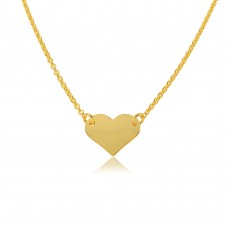 Wholesale Sterling Silver 925 Gold Plated High Polished Heart Necklace - DIN00044GP