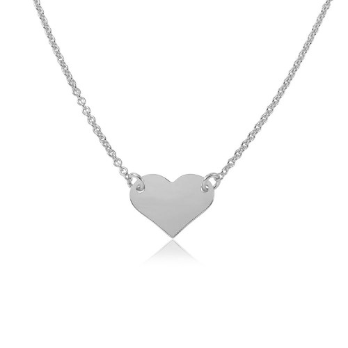 Wholesale Sterling Silver 925 Rhodium Plated High Polished Heart Necklace - DIN00044RH