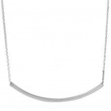 Wholesale Sterling Silver 925 Rhodium Plated Curve Bar Necklace 40mm - DIN00052RH