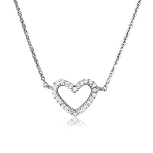 Wholesale Sterling Silver 925 Rhodium Plated CZ Open Heart Necklace - DIN00054RH