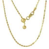 Wholesale Sterling Silver Gold Plated Adjustable Oval Bead Slider Chain - DIN00055GP