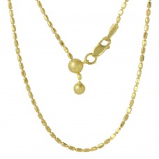 Sterling Silver Gold Plated Adjustable Oval Bead Slider Chain - DIN00055GP
