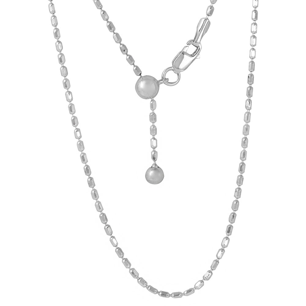 Wholesale Sterling Silver 925 Rhodium Plated Adjustable Oval Bead Slider Chain - DIN00055RH