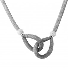 Sterling Silver Rhodium Plated Interlocking Accent Mesh Necklace - DIN00056RH