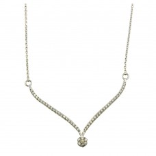 Sterling Silver Rhodium Plated Elegant V Pendant Necklace with CZ - DIN00057RH