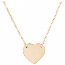 Wholesale Sterling Silver 925 Gold Plated High Polished Heart Necklace - DIN00058GP