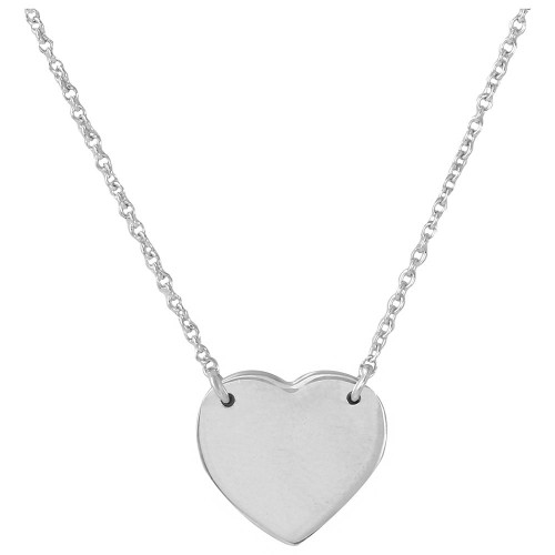 Wholesale Sterling Silver 925 Rhodium Plated High Polished Heart Necklace - DIN00058RH