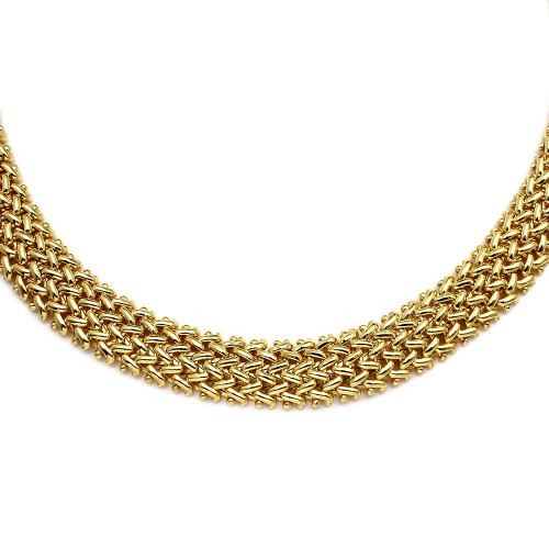 Wholesale Sterling Silver 925 Gold Plated Braided Necklace - DIN00061GP