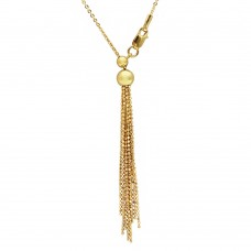 Sterling Silver Gold Plated Adjustable Multi Strands Beaded Drop  Slider Chain - DIN00062GP