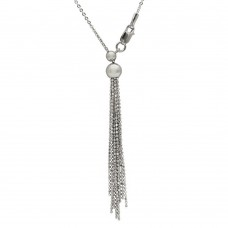 Wholesale Sterling Silver 925 Rhodium Plated Adjustable Multi Strands Beaded Drop Slider Chain - DIN00062RH