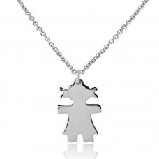 Sterling Silver Rhodium Plated Baby Girl Necklace - DIN00063RH