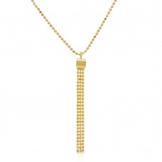Sterling Silver Gold Plated DC Bead Chain with Dangling Trio Pendant - DIN00067GP