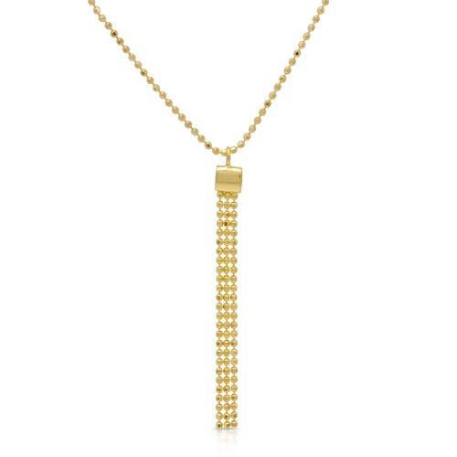 Wholesale Sterling Silver 925 Gold Plated DC Bead Chain with Dangling Trio Pendant - DIN00067GP
