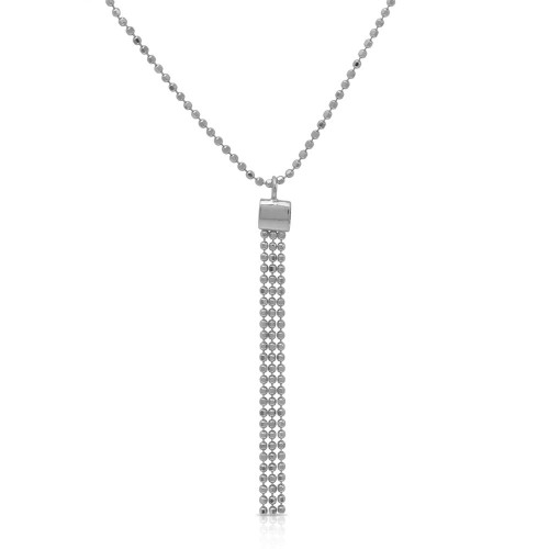Wholesale Sterling Silver 925 Rhodium Plated DC Bead Chain with Dangling Trio Pendant - DIN00067RH