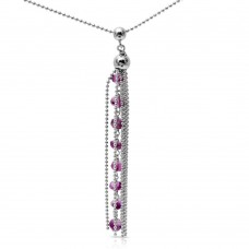 Sterling Silver Rhodium Plated Bead Chain with Dropped Purple Bead Necklace - DIN00068RH-AM