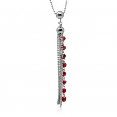 Sterling Silver Rhodium Plated Bead Chain with Dropped Red Bead Necklace - DIN00068RH-GR