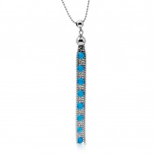 Sterling Silver Rhodium Plated Bead Chain with Dropped Turquoise Bead Necklace - DIN00068RH-TQ