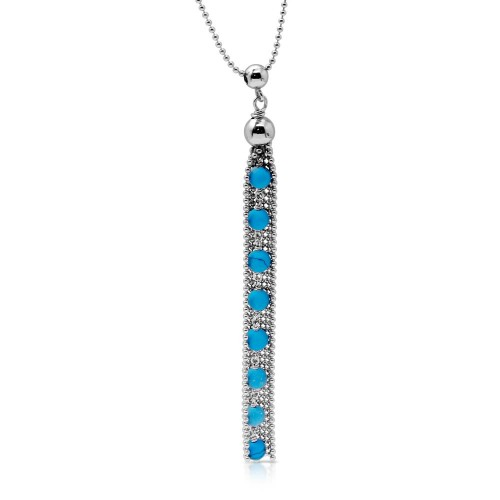 Wholesale Sterling Silver 925 Rhodium Plated Bead Chain with Dropped Turquoise Bead Necklace - DIN00068RH-TQ