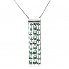 Sterling Silver Rhodium Plated Bead Chain Necklace with Dropped Green Beads - DIN00069RH-EM