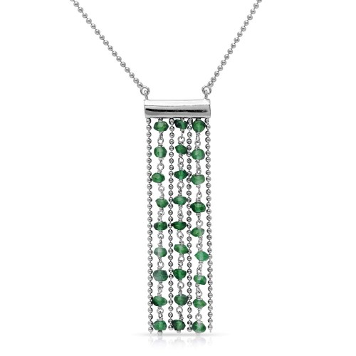 Wholesale Sterling Silver 925 Rhodium Plated Bead Chain Necklace with Dropped Green Beads - DIN00069RH-EM