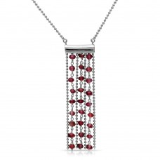 Sterling Silver Rhodium Plated Bead Chain Necklace with Dropped Dark Red Beads - DIN00069RH-GR