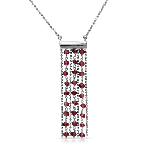 Wholesale Sterling Silver 925 Rhodium Plated Bead Chain Necklace with Dropped Dark Red Beads - DIN00069RH-GR