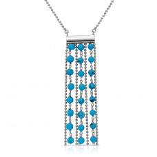 Sterling Silver Rhodium Plated Bead Chain Necklace with Dropped Turquoise Beads - DIN00069RH-TQ