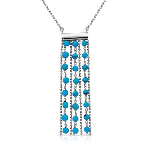 Wholesale Sterling Silver 925 Rhodium Plated Bead Chain Necklace with Dropped Turquoise Beads - DIN00069RH-TQ