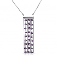 Sterling Silver Rhodium Plated Bead Chain Necklace with Dropped Purple Beads - DIN00069RH-AM