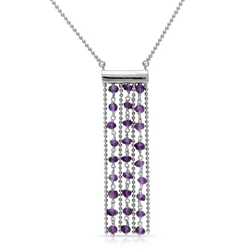 Wholesale Sterling Silver 925 Rhodium Plated Bead Chain Necklace with Dropped Purple Beads - DIN00069RH-AM