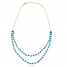 Wholesale Sterling Silver 925 Gold Plated Double Strand Turquoise Bead Necklace - DIN00070GP