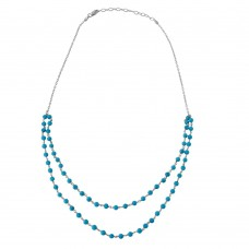Wholesale Sterling Silver 925 Rhodium Plated Double Strand Turquoise Bead Necklace - DIN00070RH