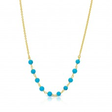 Wholesale Sterling Silver 925 Gold Plated Turquoise Bead Necklace - DIN00072GP