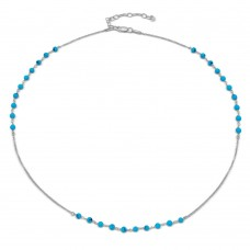 Wholesale Sterling Silver 925 Rhodium Plated Turquoise Bead Necklace - DIN00072RH