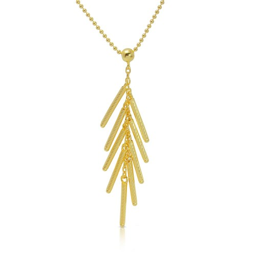 Wholesale Sterling Silver 925 Gold Plated Bead Chain with Dropped Matte Gold Plated Bar Necklace - DIN00073GP
