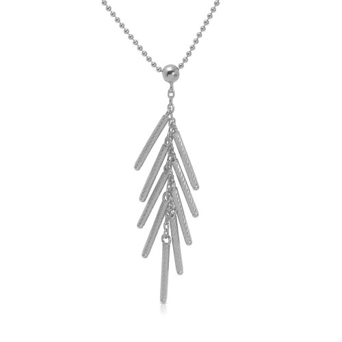 Wholesale Sterling Silver 925 Rhodium Plated Bead Chain with Dropped Matte Rhodium Plated Bar Necklace - DIN00073RH